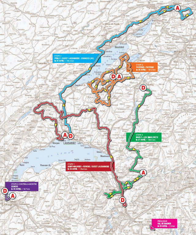 2013 Tour de Romandie map