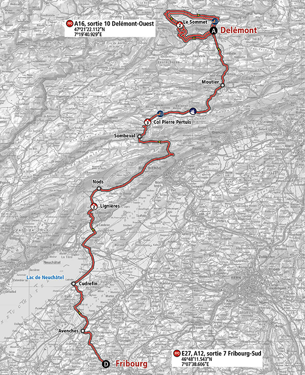 Tour of Romandie stage 1 map