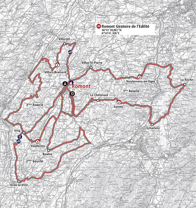 Tour of Romandie stage 3 map