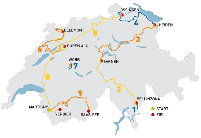 2014 Tour of Switzerland map