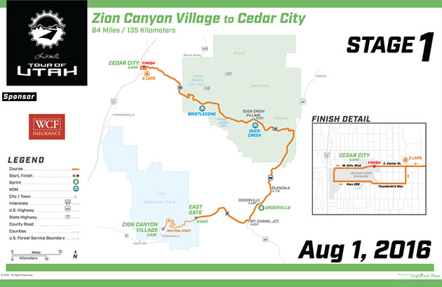 Tour of Utah stage 1 map