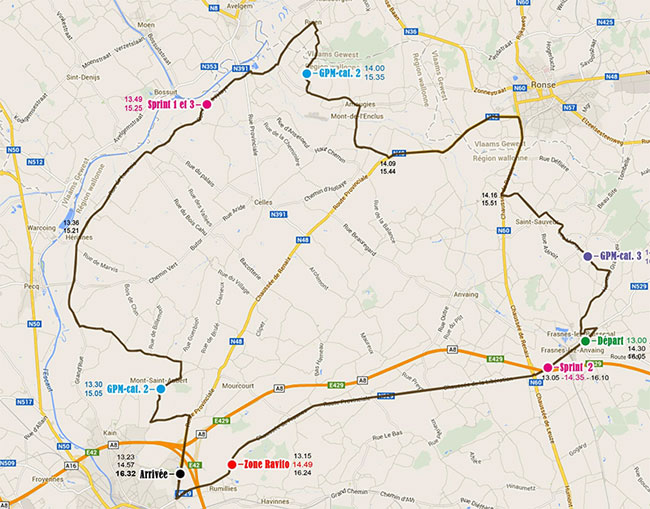 Stage 1 Wallonie Tour map