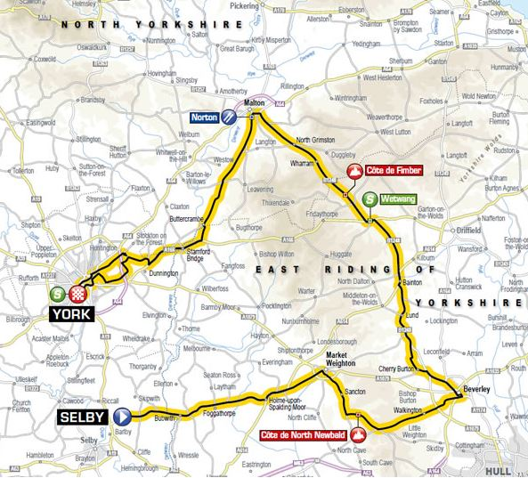 Tour de Yorkshire stage 2 map