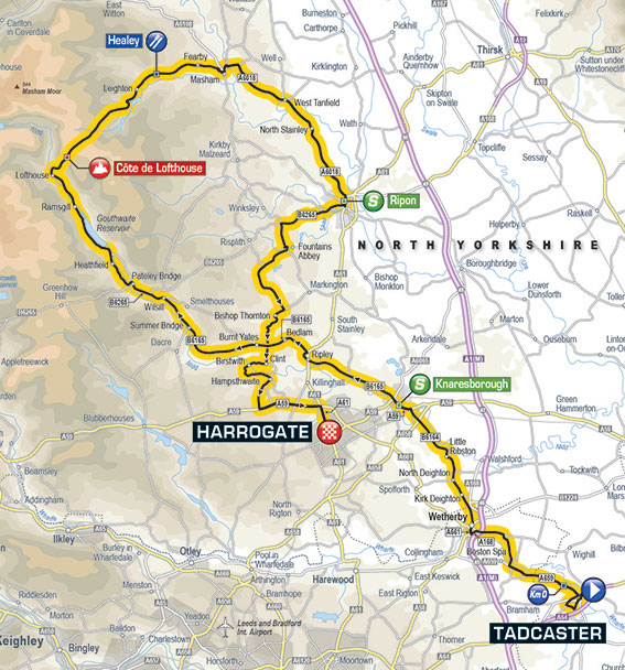 2017 Tour de Yorkshire stage 2 map