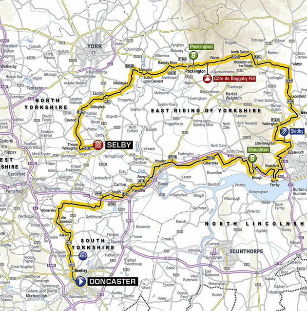 Tour of Yorkshire stage one map