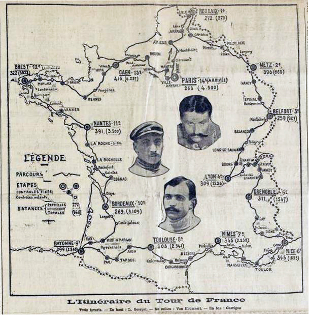 Map of the 1907 Tour de France