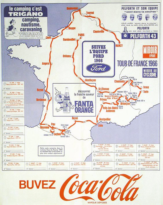 Map of the 1966 Tour de France