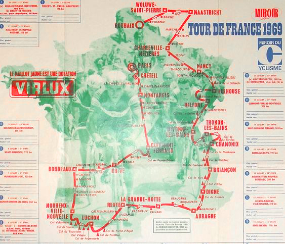 Map of the 1969 Tour de France