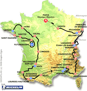 Map of the 2000 Tour de France