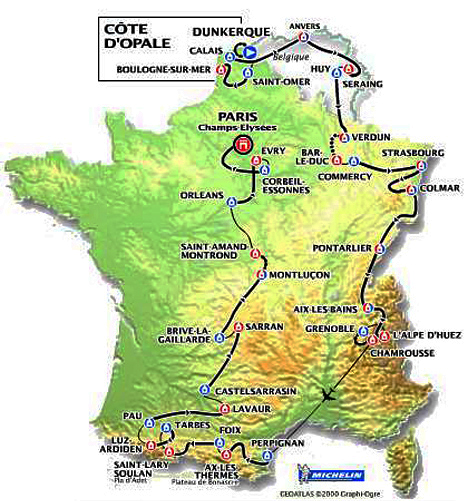 Map of the 2001 Tour de France