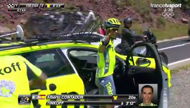 Alberto Contador abanons the 2016 Tour de France