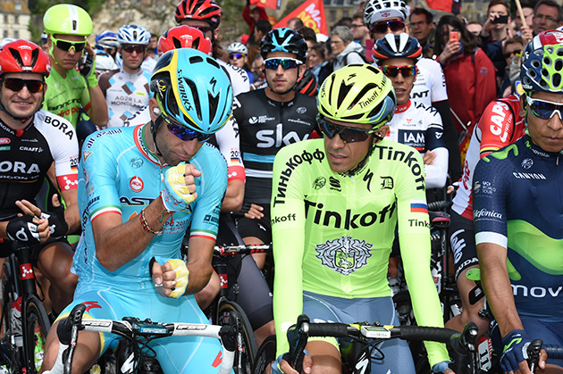 Vinceno Nobali and Albnerto Contador