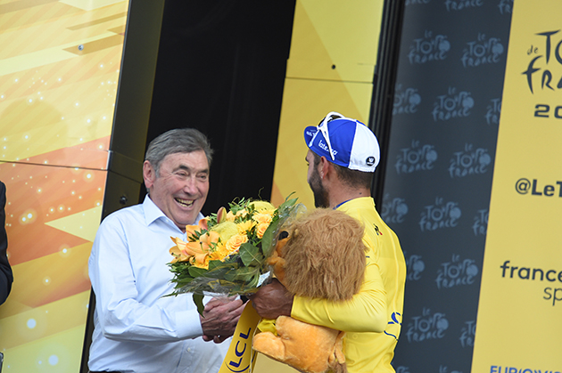 Fernando Gaviria and Eddy Merckx
