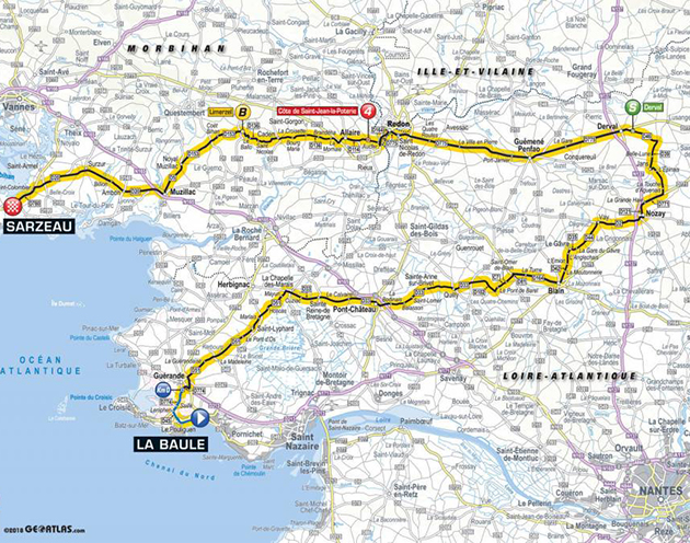 2018 Tour de France stage 4 map