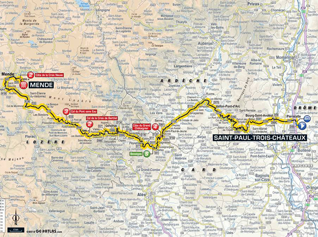 2018 Tour de france stage 14 map