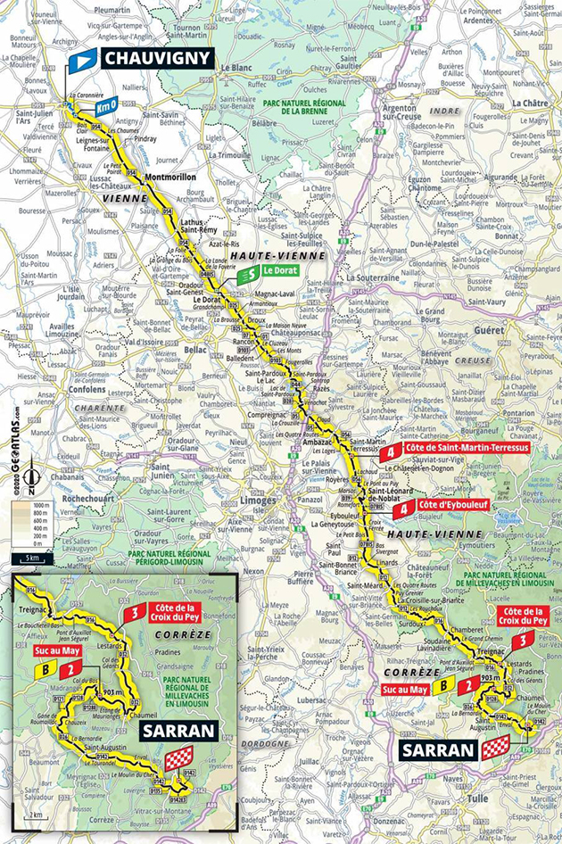 2020 Tour de france stage 12 map