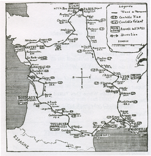 1904 Tour de france route map