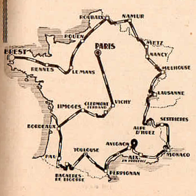 map of 1952 Tour de France