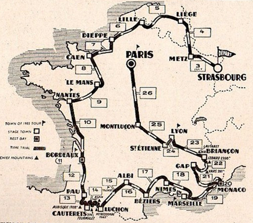Map of the 1953 Tour de France