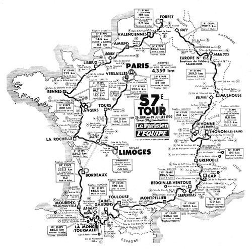 Map of the 1970 Tour de France
