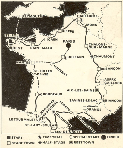 Map of the 1974 Tour de France
