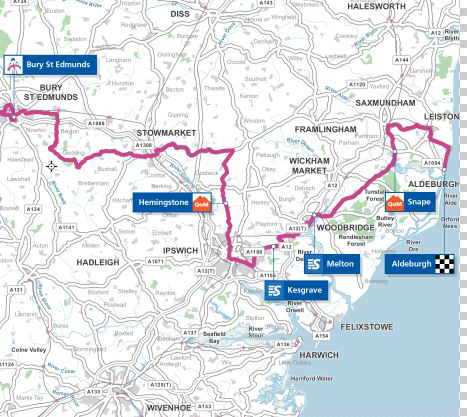 Women's Tour of Britain stage 1 map