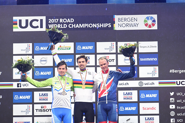 Mens time trial championship podium