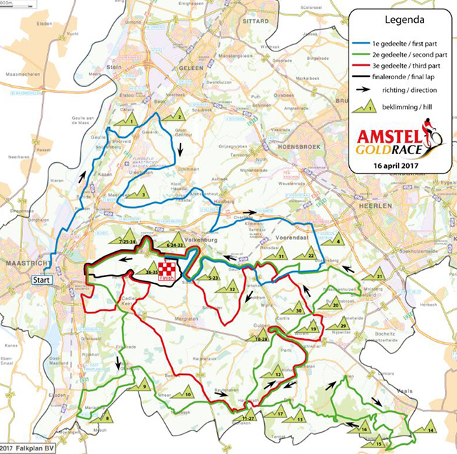 2017 Amstel Gold Race map