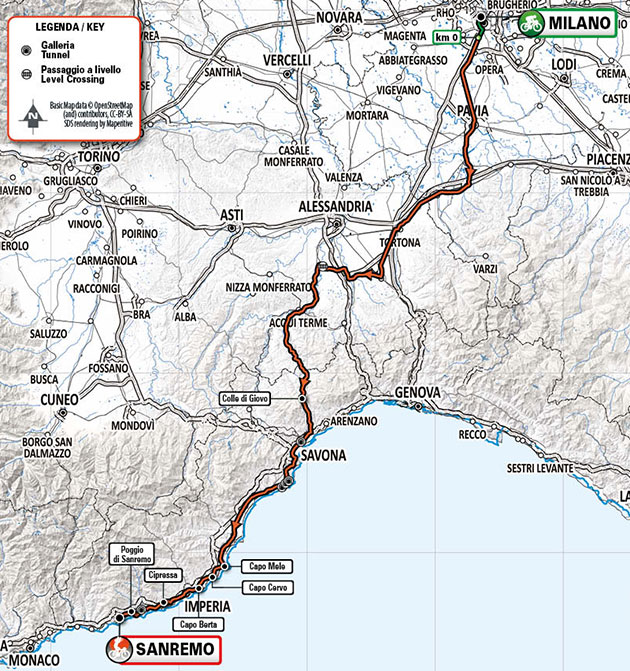 2021 Milan San Remo map