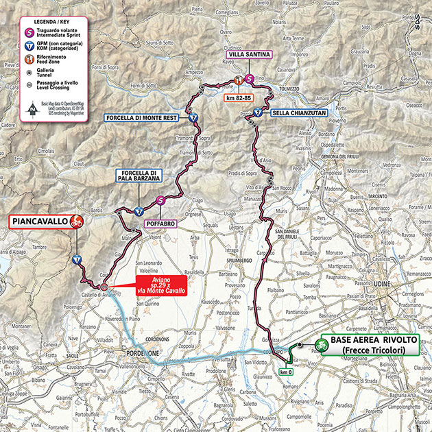 Giro stage 15 map