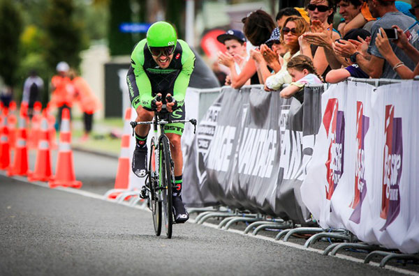 Paddy Bevin racing to New Zealand time trial championship