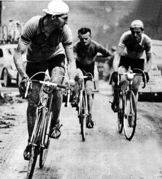 Bartali leads Robic and Koblet on the Pordoi in the 1950 Giro
