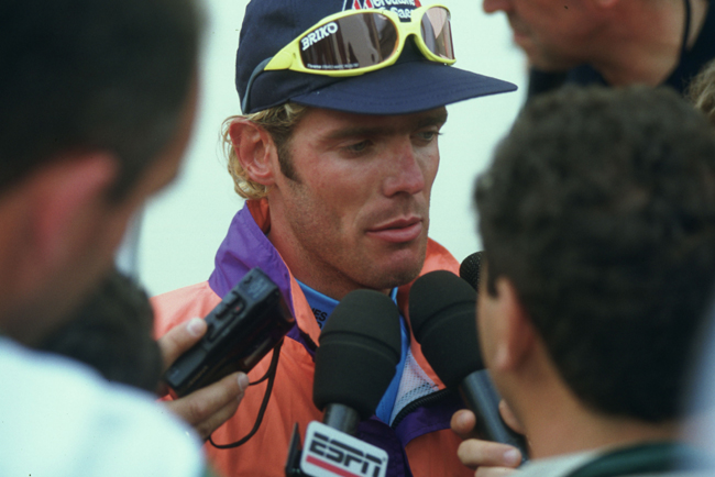 Cipollini gives an interview after winning  stage 2 of the 1995 Tour de France