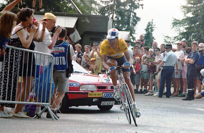 Miguel Indirain riding to La Plagne in the 1995 Tour deFrance