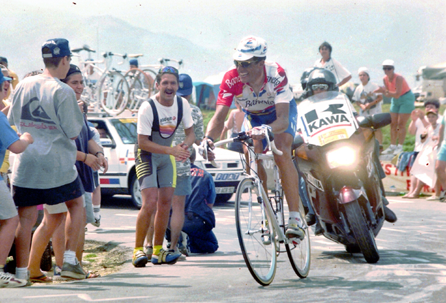 Indurain on the the road to LKourdes/Hautacam
