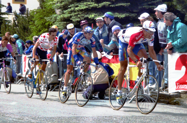 Indruain races to Sestriere in the 1996 Tour de France