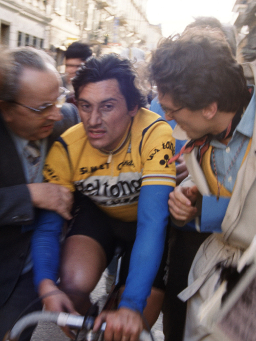 Giuseppe Saronni after the 1985 Milano-San Remo