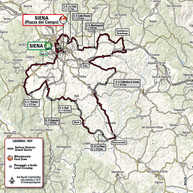 Women's strade bianche map