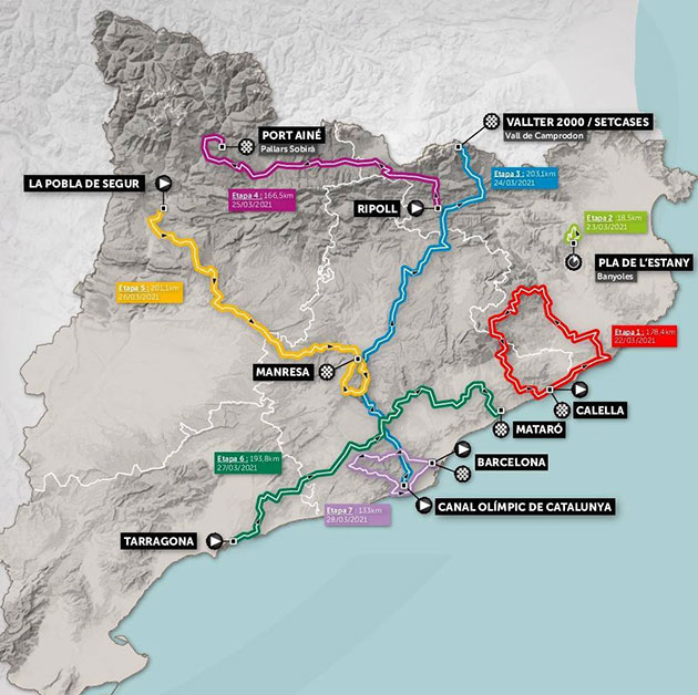 2021 Tour of Catalonia map