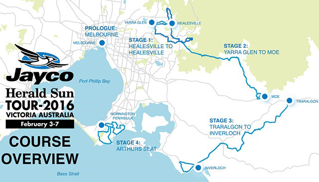 2016 Herald Sun Tour map