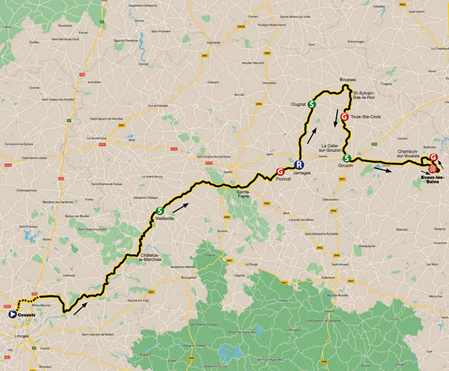 Tour du Limousin stage one map