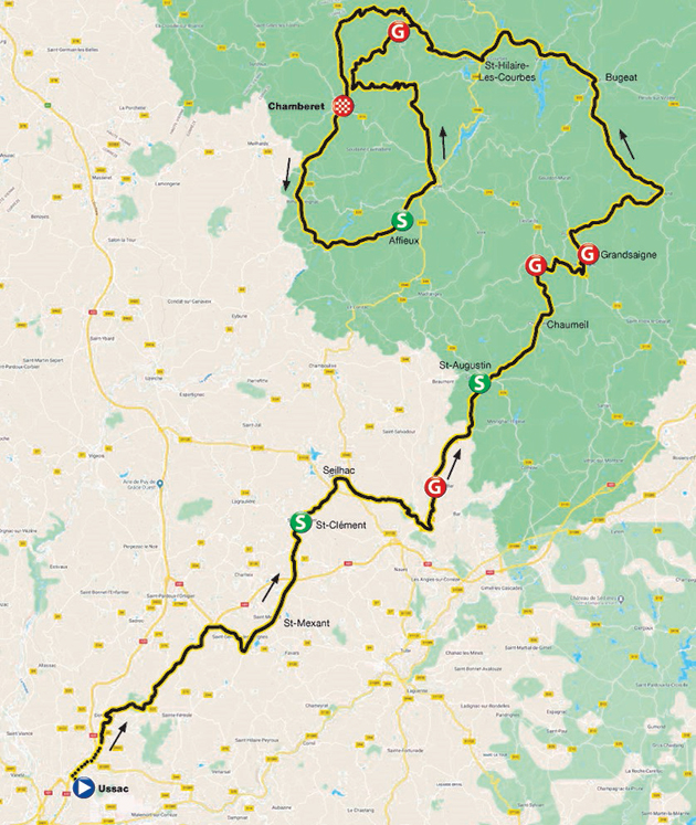 2020 Tour du Limousin stage 3 map