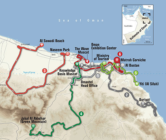 2016 Tour of Oman Map
