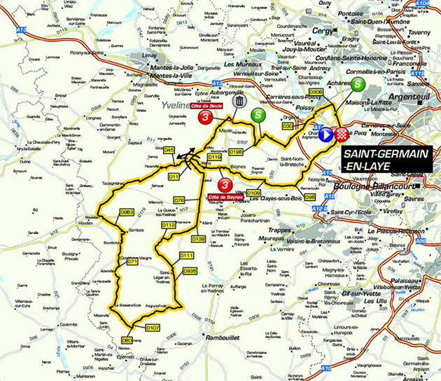 Paris-Nice stage one map