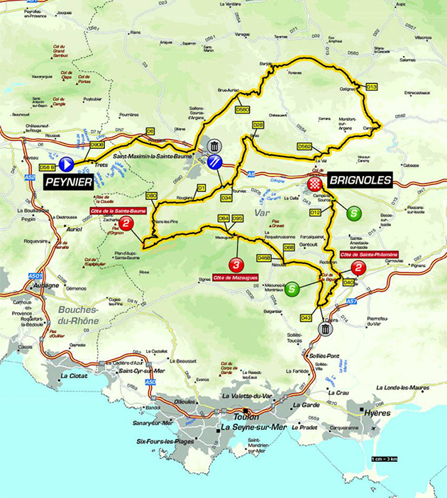 Paris-Nice stage 6 map