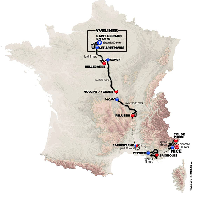 2019 Paris-Nice map