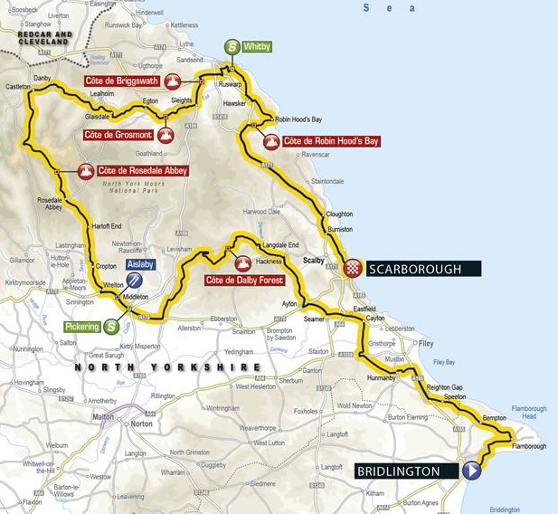 Tour de Yorkshire stage 1 map