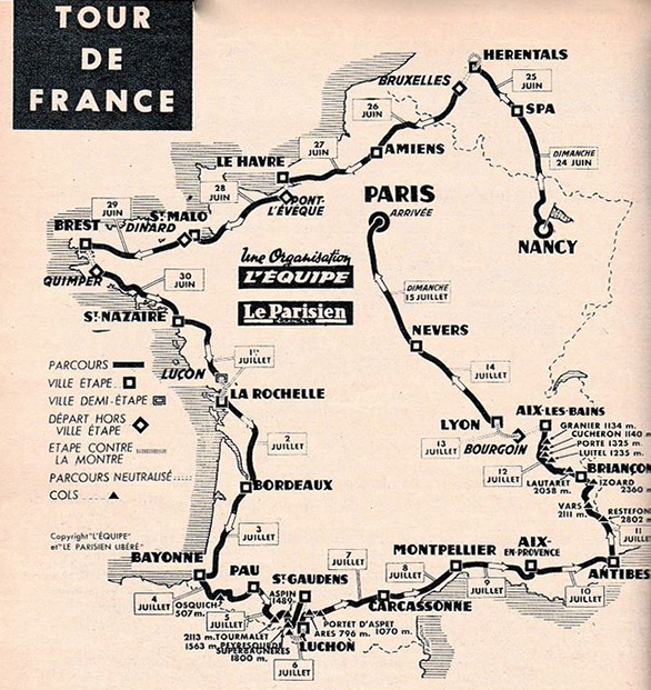 1962 Tour De France By Bikeraceinfo