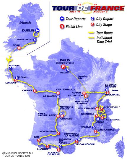 1998 Tour de France by BikeRaceInfo